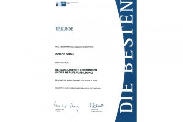 Gödde GmbH erhält Urkunde für herausragende Leistung in der Berufsausbildung